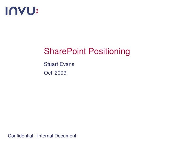 SharePoint Positioning<br />Stuart Evans<br />Oct' 2009<br />Confidential:  Internal Document<br />