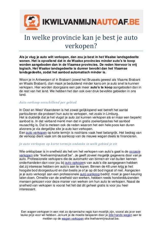 In Welke Provincie Kan Je Best Je Auto Verkopen