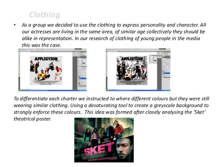Clothing•   As a group we decided to use the clothing to express personality and character. All    our actresses are livin...