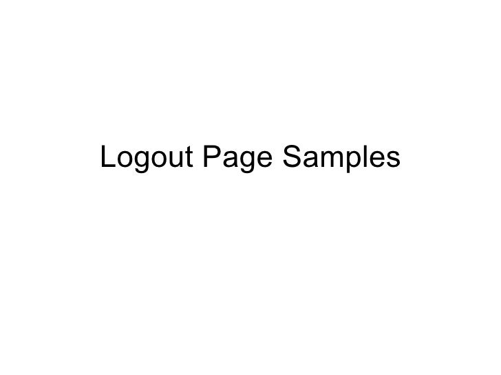 Logout Page Samples