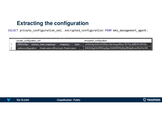 fox-it.com Extracting the configuration SELECT private_configuration_xml, encrypted_configuration FROM mms_management_agen...