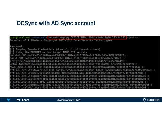 fox-it.com DCSync with AD Sync account Classification: Public