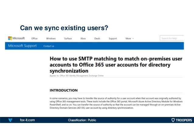 fox-it.com Can we sync existing users? Classification: Public