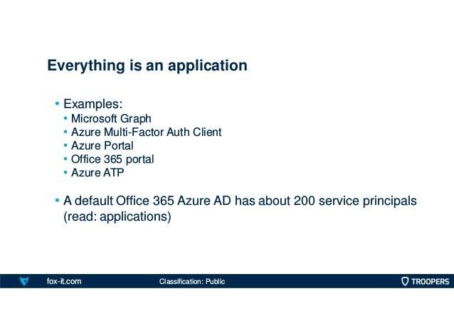 fox-it.com • Examples: • Microsoft Graph • Azure Multi-Factor Auth Client • Azure Portal • Office 365 portal • Azure ATP •...