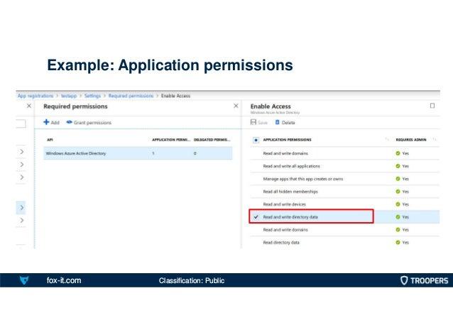 fox-it.com Example: Application permissions Classification: Public