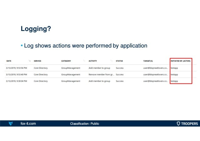 fox-it.com • Log shows actions were performed by application Logging? Classification: Public