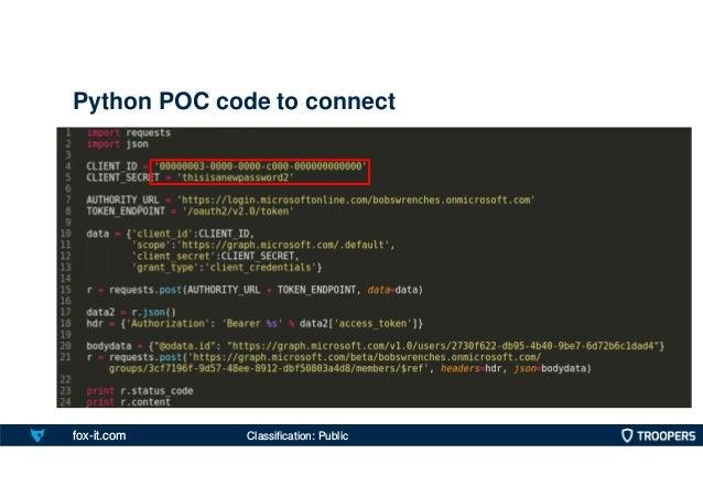fox-it.com Python POC code to connect Classification: Public