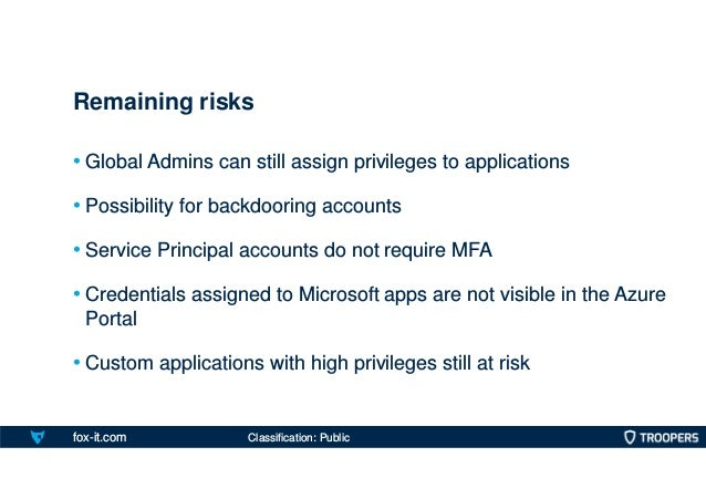 fox-it.com • Global Admins can still assign privileges to applications • Possibility for backdooring accounts • Service Pr...