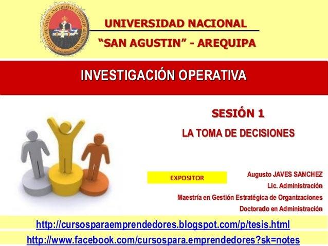 "UNIVERSIDAD NACIONAL               ""SAN AGUSTIN"" - AREQUIPA           INVESTIGACIÓN OPERATIVA                             ..."