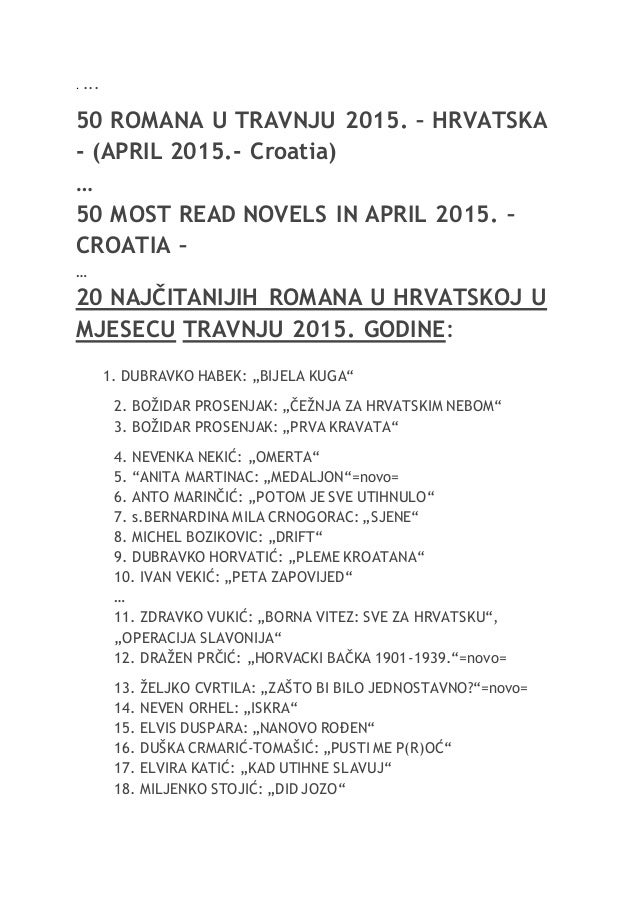 . ... 50 ROMANA U TRAVNJU 2015. – HRVATSKA - (APRIL 2015.- Croatia) … 50 MOST READ NOVELS IN APRIL 2015. – CROATIA – … 20 ...