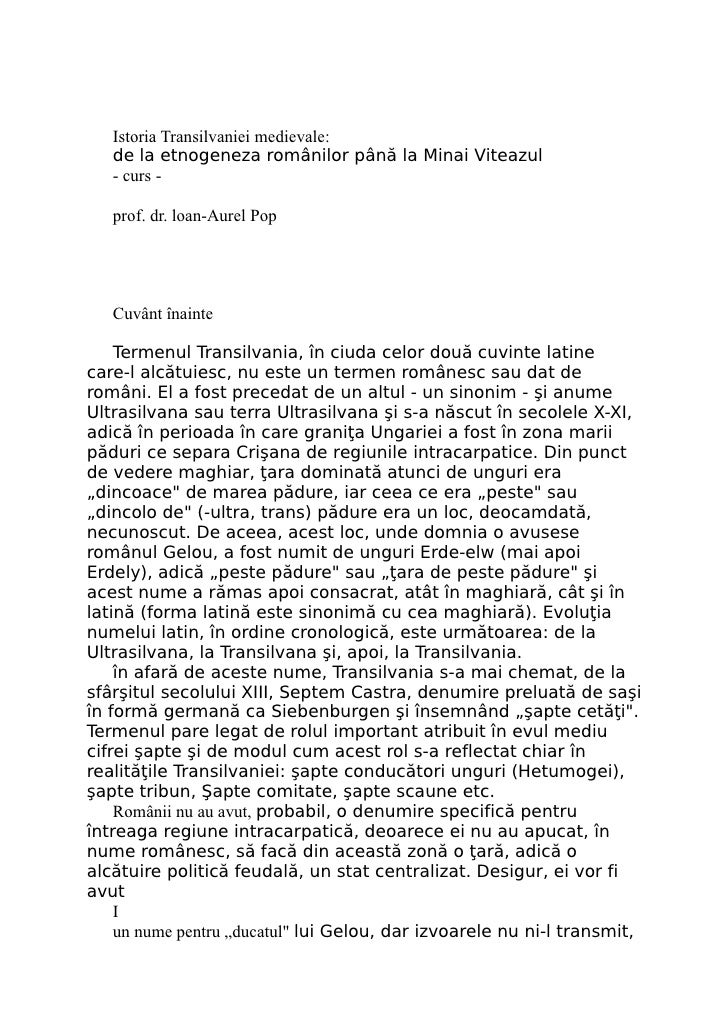 Istoria Transilvaniei medievale:    de la etnogeneza românilor până la Minai Viteazul    - curs -     prof. dr. loan-Aurel...
