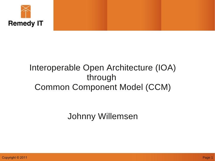 Interoperable Open Architecture (IOA)                                  through                     Common Component Model ...