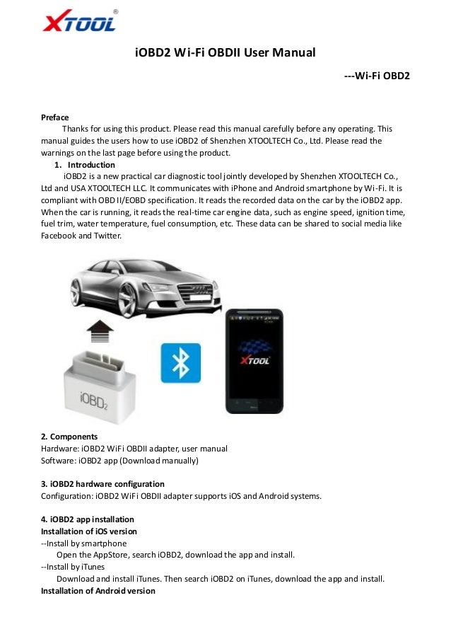 iOBD2 Wifi support iPhone Android user manual