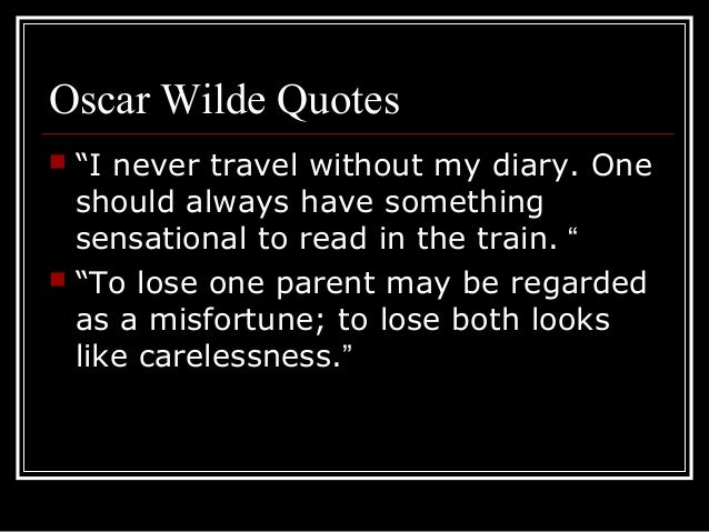 characterization used by oscar wilde in the importance of being earnest The importance of being earnest: literary analysis by oscar wilde.