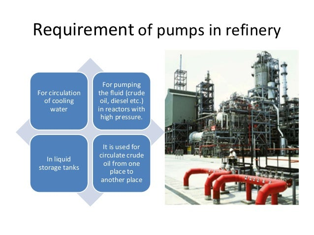 Requirement of pumps in refinery For circulation of cooling water For pumping the fluid (crude oil, diesel etc.) in reacto...