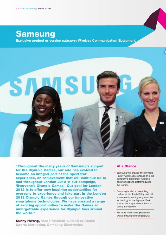"""37 / IOC Marketing: Media Guide  Samsung Exclusive product or service category: Wireless Communication Equipment  """"Through..."""