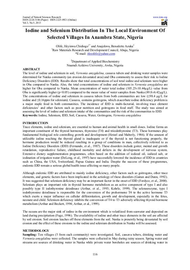 Journal of Natural Sciences Research www.iiste.orgISSN 2224-3186 (Paper) ISSN 2225-0921 (Online)Vol.3, No.5, 2013116Iodine...