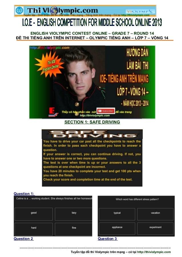 ENGLISH VIOLYMPIC CONTEST ONLINE – GRADE 7 – ROUND 14 ĐỀ THI TIẾNG ANH TRÊN INTERNET – OLYMPIC TIẾNG ANH – LỚP 7 – VÒNG 14...