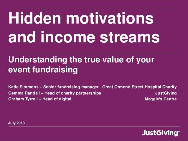 July 2013 Hidden motivations and income streams Understanding the true value of your event fundraising Katie Simmons – Sen...