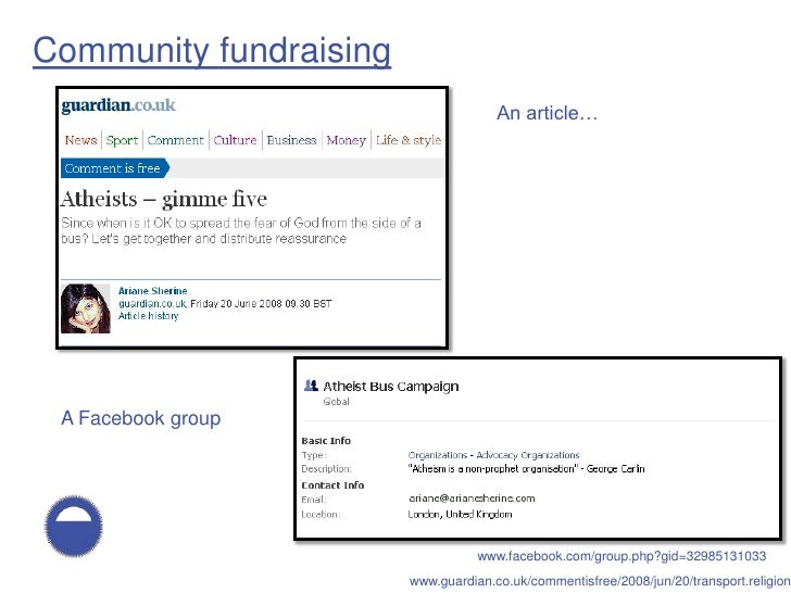 Community fundraising                                       An article…      A Facebook group                             ...