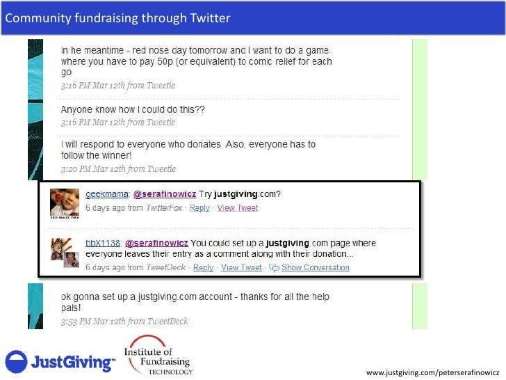Community fundraising through Twitter                                             www.justgiving.com/peterserafinowicz