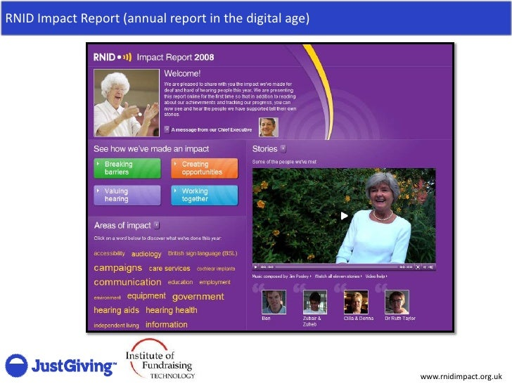 RNID Impact Report (annual report in the digital age)                                                             www.rnid...