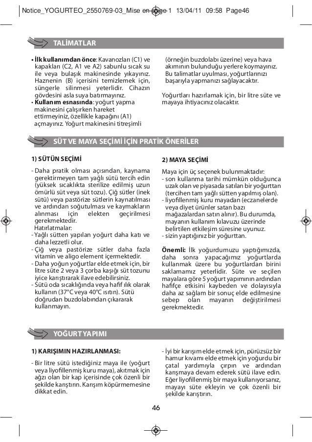 Livro de instruções da iogurteira moulinex yogurteo