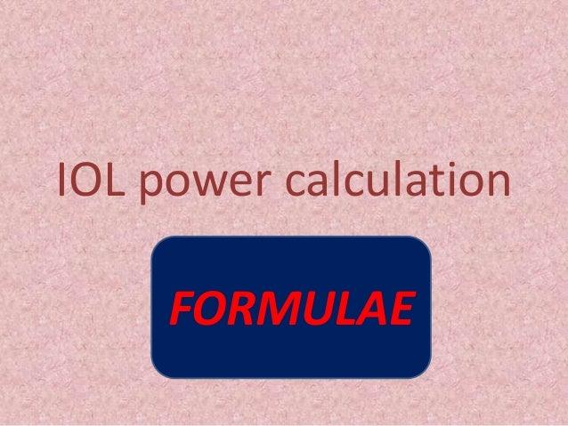 IOL power calculation FORMULAE