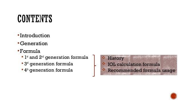 Introduction Generation Formula  1st and 2nd generation formula  3rd generation formula  4th generation formula  Hi...