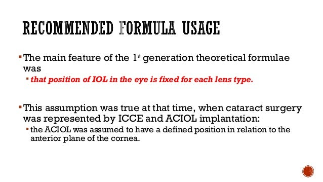 = distance from cornea to lens  Explains position of the IOL postoperatively  ELP is difficult to predict because: a) IO...