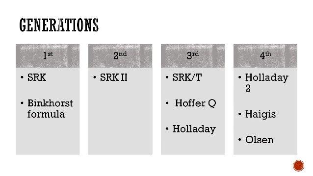 1ST AND 2ND GENERATION FORMULA: SRK, SRK II, HOFFER By Leong ShinYi, Foo Hou Ling,Mohd Zharif