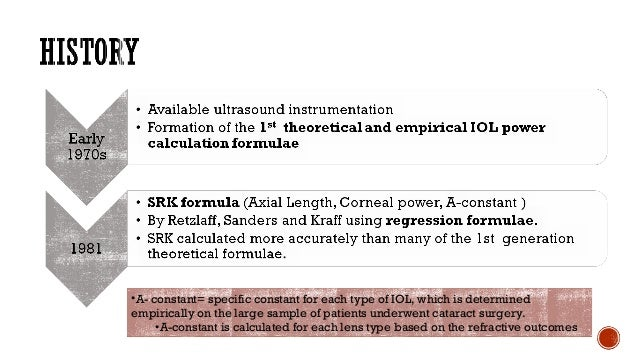 P= IOL power to be used (D) A = IOL specific A constant K = Average corneal refractive power (D) L = Axial length of the e...
