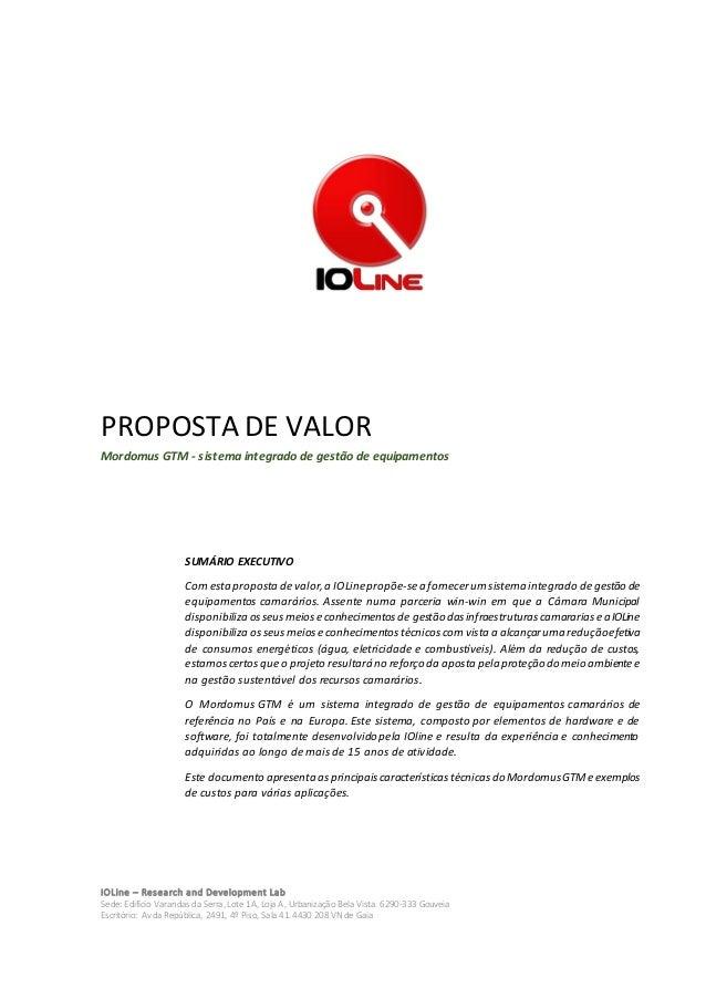 PROPOSTA DE VALOR Mordomus GTM - sistema integrado de gestão de equipamentos  SUMÁRIO EXECUTIVO  Com esta proposta de valo...