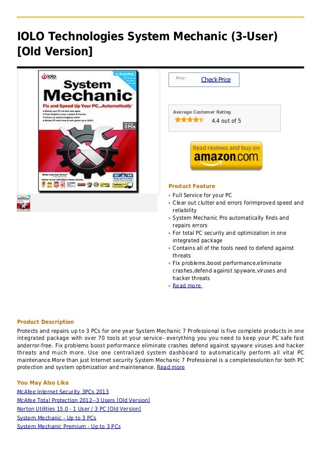 IOLO Technologies System Mechanic (3-User)[Old Version]                                                              Price...