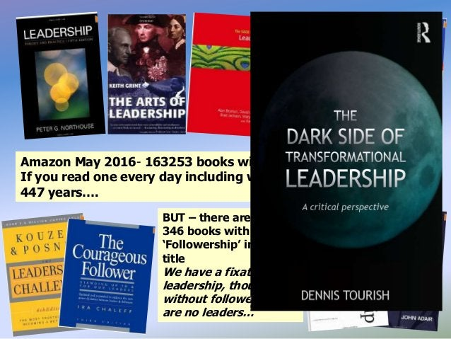Amazon May 2016- 163253 books with 'Leadership' in their title. If you read one every day including weekends it would take...