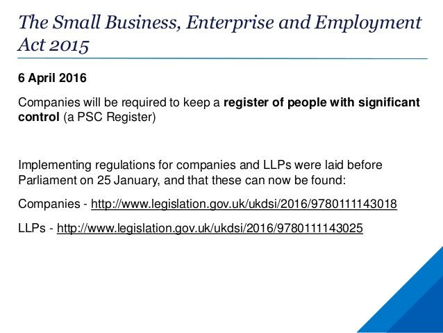 PSC Register: guidance Two types of guidance: •Statutory •Non-statutory The legislation requires the Secretary of State to...