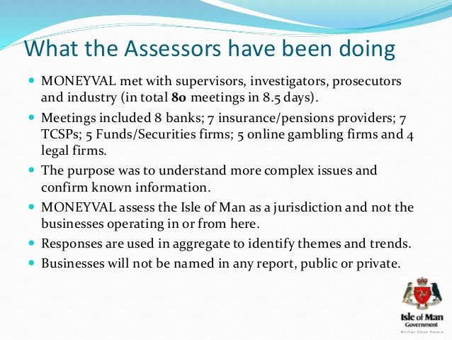 What the Assessors have been doing  MONEYVAL met with supervisors, investigators, prosecutors and industry (in total 80 m...