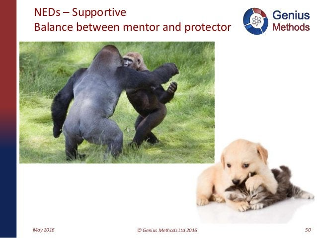 NEDs – Supportive Balance between mentor and protector May 2016 © Genius Methods Ltd 2016 50