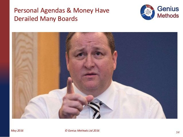 Personal Agendas & Money Have Derailed Many Boards May 2016 © Genius Methods Ltd 2016 54
