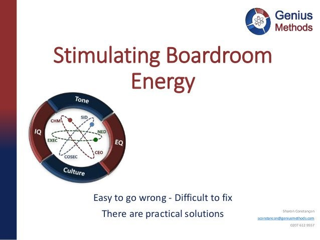 Easy to go wrong - Difficult to fix There are practical solutions Stimulating Boardroom Energy Sharon Constançon sconstanc...