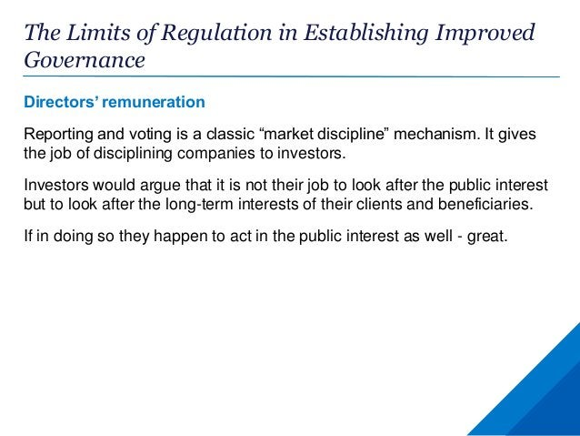 """The Limits of Regulation in Establishing Improved Governance Directors' remuneration Reporting and voting is a classic """"ma..."""