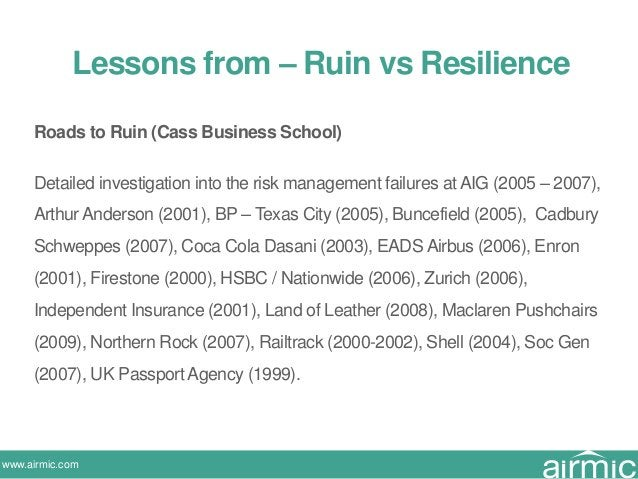 www.airmic.com Roads to Ruin (Cass Business School) Detailed investigation into the risk management failures at AIG (2005 ...