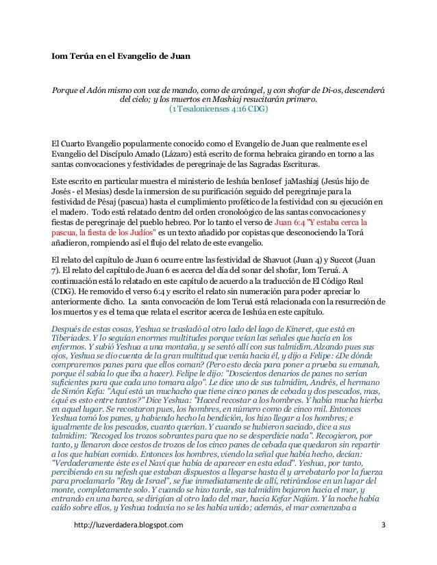 http://luzverdadera.blogspot.com 3 Iom Terúa en el Evangelio de Juan Porque el Adón mismo con voz de mando, como de arcáng...