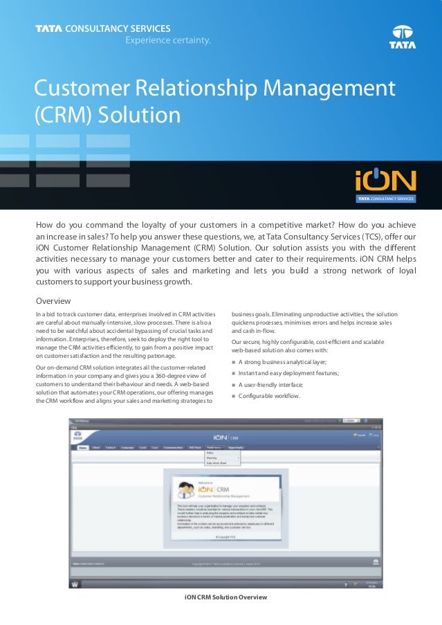 Customer Relationship Management(CRM) SolutionHow do you command the loyalty of your customers in a competitive market? Ho...