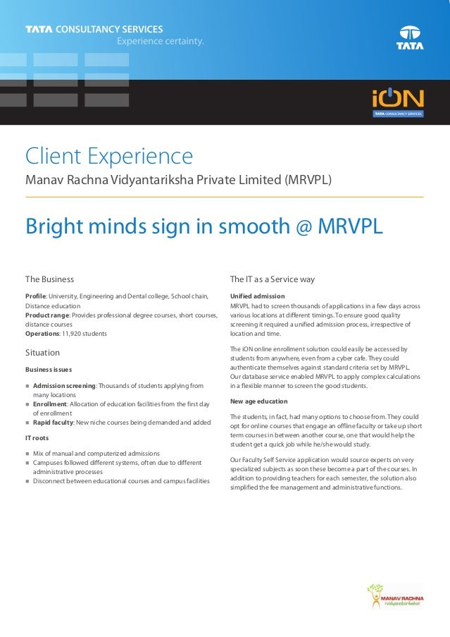Client ExperienceManav Rachna Vidyantariksha Private Limited (MRVPL)Bright minds sign in smooth @ MRVPLThe Business       ...