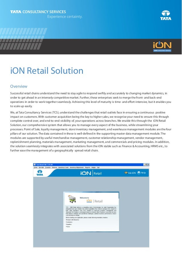 iON Retail SolutionOverviewSuccessful retail chains understand the need to stay agile to respond swiftly and accurately to...