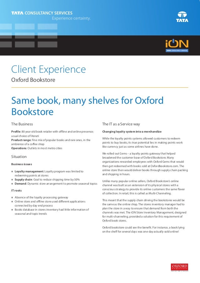 Client ExperienceOxford BookstoreSame book, many shelves for OxfordBookstoreThe Business                                  ...