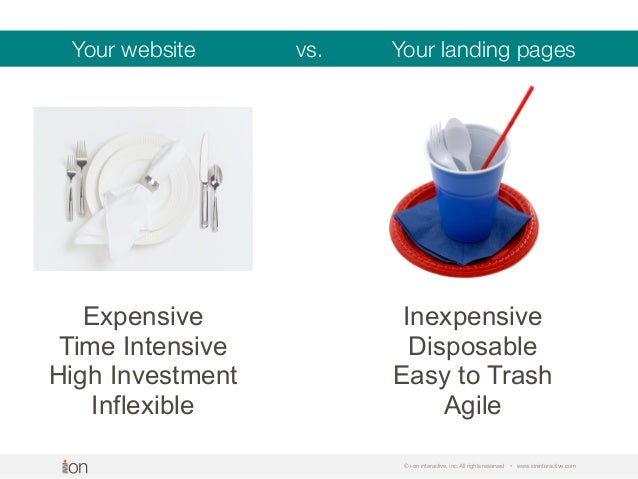 © i-on interactive, inc. All rights reserved • www.ioninteractive.com Your website vs. Your landing pages Expensive Time I...