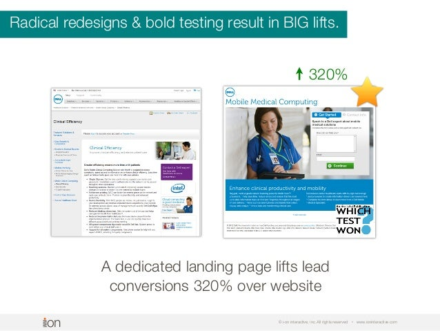 © i-on interactive, inc. All rights reserved • www.ioninteractive.com A dedicated landing page lifts lead conversions 320%...