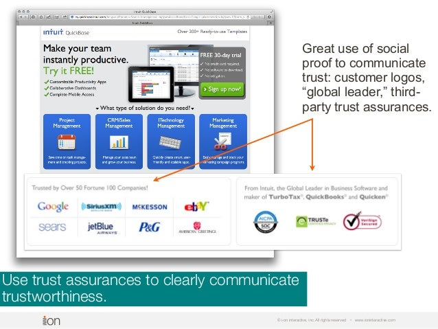 Use trust assurances to clearly communicate trustworthiness. © i-on interactive, inc. All rights reserved • www.ioninterac...